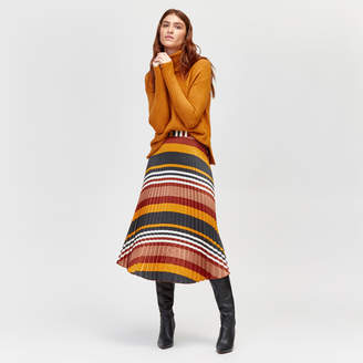 Warehouse Honey Stripe Pleat Midi Skirt