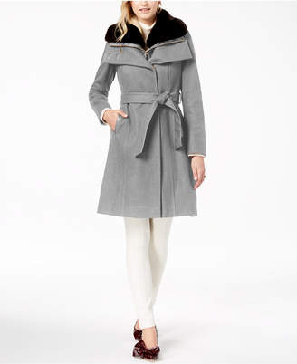 French Connection Faux Fur Collar Belted Wool Coat with Bib