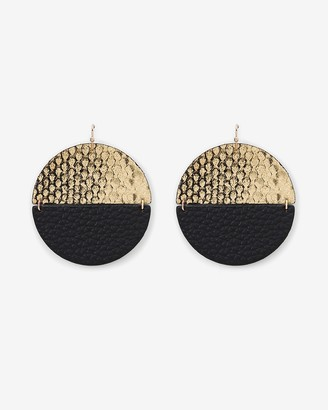 Express Faux Leather & Metal Disc Earrings