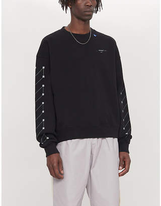 Off-White Graphic-print crewneck cotton-jersey sweatshirt