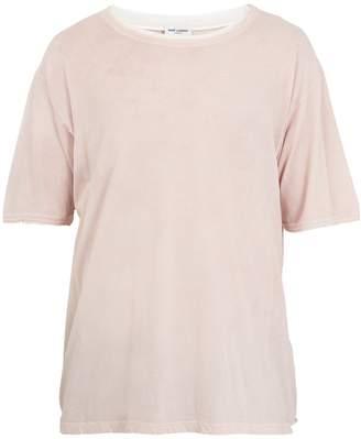 Saint Laurent Distressed-collar cotton T-shirt