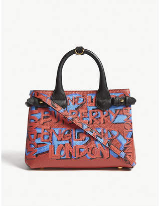 Burberry Black and Red Graffiti Print Banner Leather Tote Bag