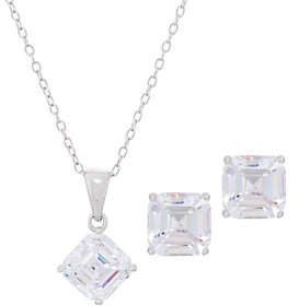 Diamonique 4.00 ct tw Earring and Pendant Set,Sterling, Boxed