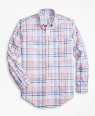 Brooks Brothers Regent Fit Oxford Pink and Blue Plaid Sport Shirt
