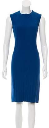 Calvin Klein Collection Pleated Silk Dress Blue Pleated Silk Dress