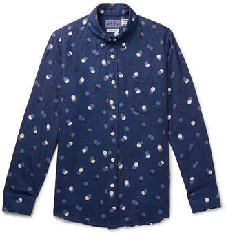 Blue Blue Japan Slim-Fit Button-Down Collar Polka-Dot Cotton-Twill Shirt
