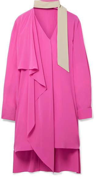 Fendi - Oversized Faux Pearl-embellished Silk Crepe De Chine Dress - Fuchsia