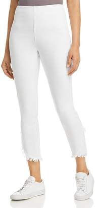 Lysse Cropped Frayed-Hem Legging Jeans in White