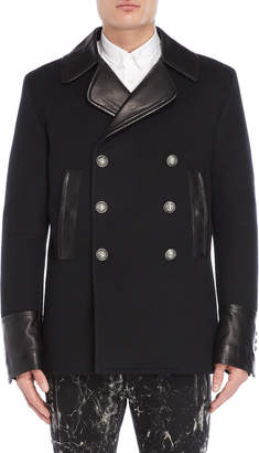 Balmain Double-Breasted Mixed Media Overcoat
