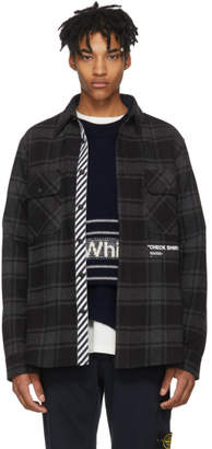 Off-White Grey and Black Flannel Quote Shirt