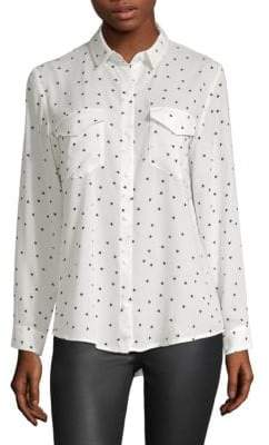 The Kooples Matte Crepe Heart Print Shirt