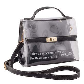 clear Thalie Purse Transparent Shoulder Hand Bag Women's with Cosmetic Bag Printed Quote Gifts for Women