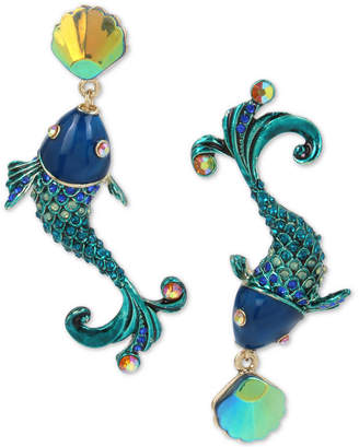 Betsey Johnson Extra Large Blue Crystal Fish Mismatch Earrings, 2.5""