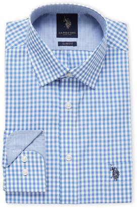 U.S. Polo Assn. Blue Gingham Slim Fit Dress Shirt