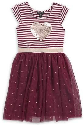 Zunie Little Girl's Sequin Heart Tutu Dress