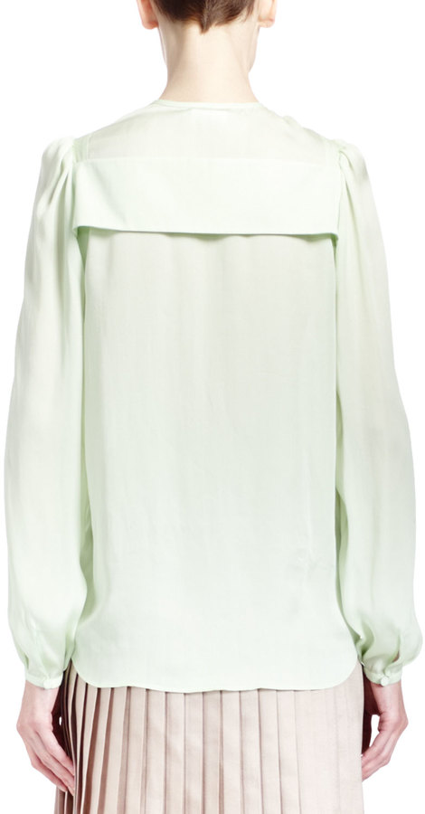 Givenchy Collarless Silk Charmeuse Blouse, Pale Green