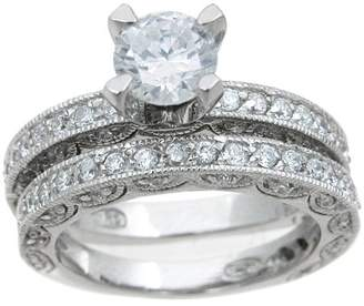 Plutus Brands CZ Sterling Silver Rhodium Finish Antique-Style Bridal Set Ring