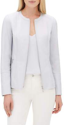Lafayette 148 New York Janella Zip-Front Plonge Leather Jacket