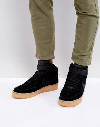 Nike Force 1 '07 Lv8 Hi-Top Suede Sneakers In Black Aa1118-001