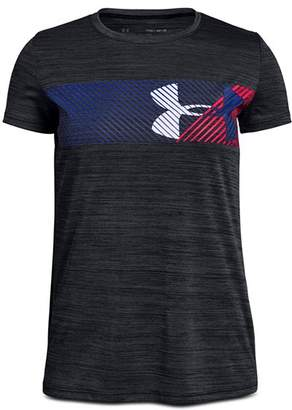 Under Armour Girls' Hybrid Big Logo Tee - Big Kid