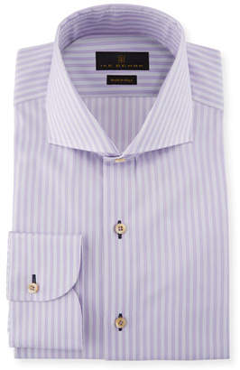 Ike Behar Fredrick Striped Cotton Barrel-Cuff Dress Shirt