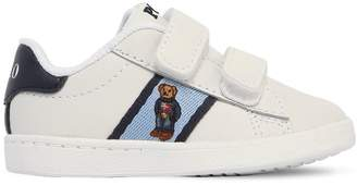 Ralph Lauren Bear Embroidered Leather Strap Sneakers