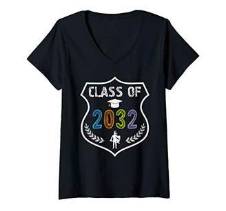 Womens 2019 Class Of 2032 Grow With Graduation First Day of School V-Neck T-Shirt