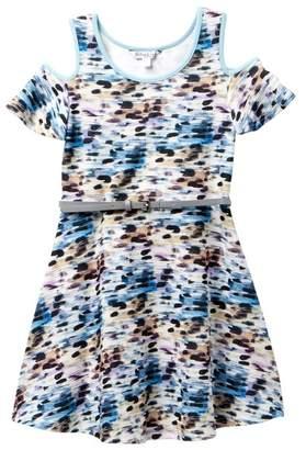 Pippa & Julie Printed Knit Open Shoulder Dress (Big Girls)