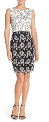 Women's Ellen Tracy Floral Lace Sheath Dress With Belt $138 thestylecure.com