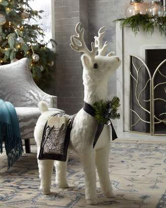 Ditz Designs By The Hen House White Reindeer Footrest with Pewter Throw