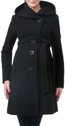 Kimi + Kai Lora Button-Front Hooded Wool-Blend Coat