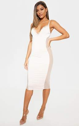 PrettyLittleThing Nude Strappy Mesh Panel Lace Detail Midi Dress