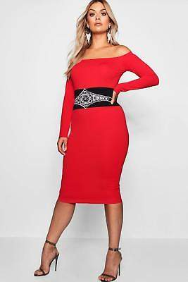 boohoo NEW Womens Plus Embellished Waist Bardot Dress in Polyester