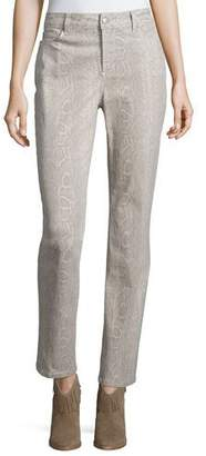 NYDJ Sheri Python-Print Skinny Pants, Light Brown $150 thestylecure.com
