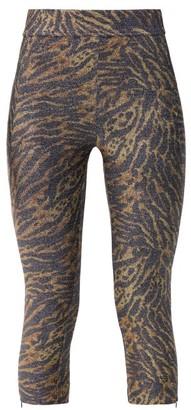 Ganni Zipped Hem Tiger Print Lurex Leggings - Womens - Leopard