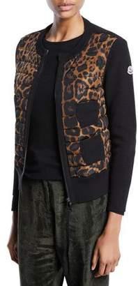 Moncler Alla Coreana Leopard-Print Zip Cardigan Sweater