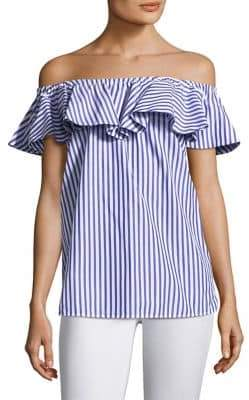 MDS Stripes Off-The-Shoulder Ruffle Top