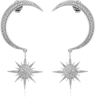 Noir Rhodium Moon Starburst Earrings