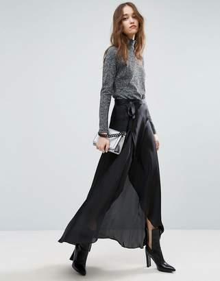 Asos Maxi Wrap Skirt In Satin