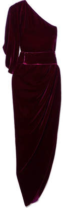 Ralph & Russo - One-shoulder Draped Velvet Dress - Red