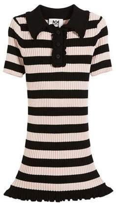 Milly Minis Ribbed Striped Ruffle-Trim Polo Dress, Size 2-7