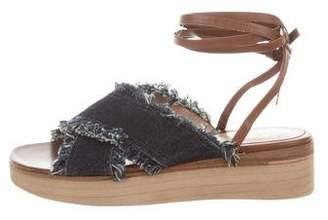 Gianvito Rossi Denim Wedge Sandals