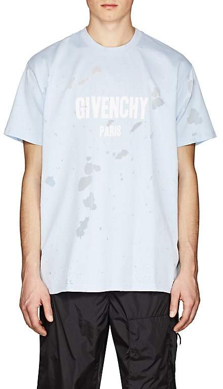 Men's Logo Distressed Cotton Columbian-Fit T-Shirt