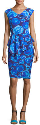 Chiara Boni Tini Floral-Print Cap-Sleeve Sheath Dress