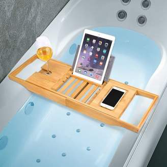 Hurrise HURRISE Bamboo Bathtub Caddy Non-slip Bath Tub Tray with Extending Sides and Soap Holder