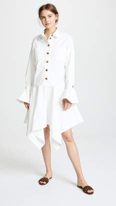 Edit Fluted Cuff Oversized Shirtdress