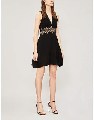 Sandro Elena lace-trim crepe dress