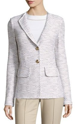 St. John Collection Caillou Tweed Rever-Collar Blazer, Sand/Multi $1,495 thestylecure.com