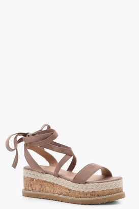 boohoo Flatform Espadrille Tie Up Sandals