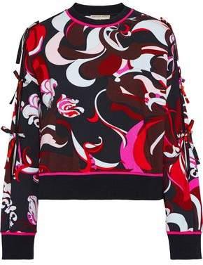 Emilio Pucci Bow-detailed Printed Cotton-blend Sweatshirt